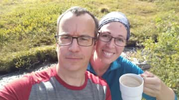 Drinking water straight from the river while hiking the Kungsleden