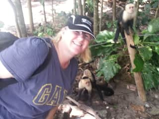 In an amazing park in Costa Rica where the monkeys roam free.