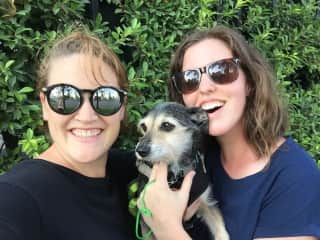 Greta and Chelsea during a housesit in Vietnam with the adorable Charlie!