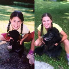 Claire and her first dog Mai - 12 years apart, ON