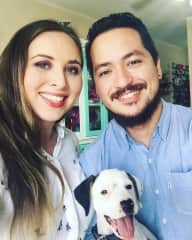 Mu husband Efrain and our puppy Pimienta (Pepper in English) a month after adopting her.