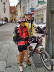 """It's me and my husband Manfred during our bike tour in Austria, along the """"Murradweg"""""""