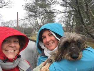 Judy & I with Tilly - over Christmas holiday in Massachusetts USA - Enjoying walking on a snowy day.