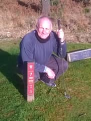 this is me posing by the T marker on the hole that i got a hole in one and won a boss watch worth £285