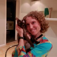 Ni with Fungus the kitten in Darlington
