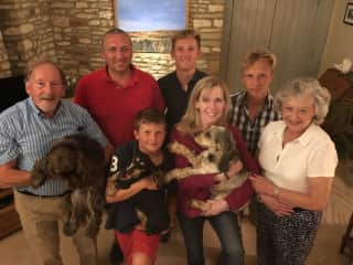 Me with the wonderful Knox family and doggies, Bertie, Monty and Wilson in the Cotswolds, August 2016