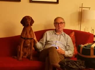 Jimmy relaxing with Buckley Brown