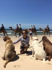 Jan in Port MacQuarrie Australia, with Coffee, Rosie and Frankie checking out the camel caravan!