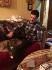 Scott hanging with Joey and Gracie