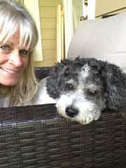 A selfie with our daughter's senior dog, Charley. September 2, 2017