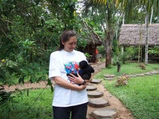 A monkey in Peru who adopted me