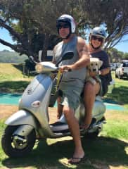 On our Vespa camping at the beach