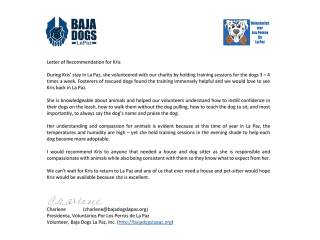 Recommendation from the President of Baja Dogs La Paz Rescue Group I volunteer with
