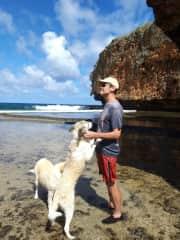 Greg and Dogs at Talofofo beach, Saipan
