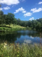 The lake below the house