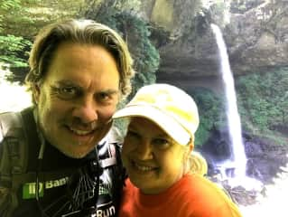 We love to hike and explore nature like waterfalls in Oregon.