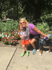 Diane with my friend's grand daughter walking the dog