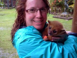 Elizabeth with  kinkajou. Honduras