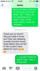 Text from a housesit on a professional pet care website, where I have a robust profile of all 5 star reviews from pet sits.