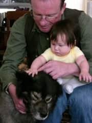 Our granddaughter Sophia, Wieslaw, and Bear