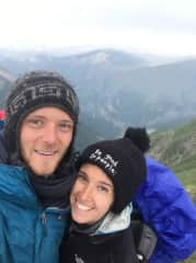 We love to hike!  In this picture, we are summiting a peak in Bosnia.