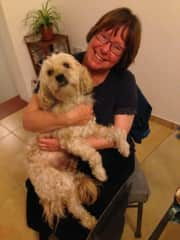 Me with a friend's dog, named Duman, in Utrecht earlier this year.