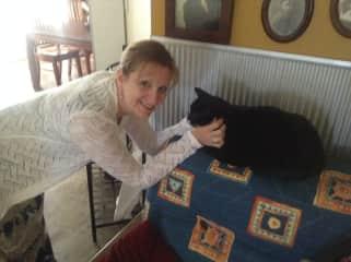 Charlene with Astin, our Australian feline friend!