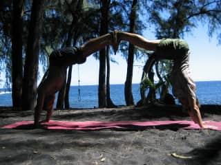 Partner Yoga on the Beach