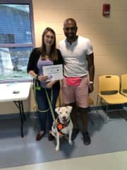 Chris, Katie, and Buko upon completion of his dog training class