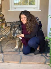 With our family dog, Zabi! 14-year-old long haired German Shepherd who still gets up to walk me to the door when leaving the house. :)