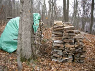 My woodpile for the winter I lived off-the-grid by myself.