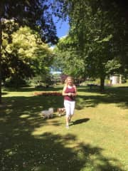 Christine bringing Ruby and Poppy for a Summers walk.