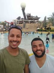 My cousin and I enjoying a sunny day at one of my favorite water parks!