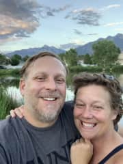Paul and my wife Chris at the pond