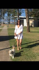 Carrie walking Coco