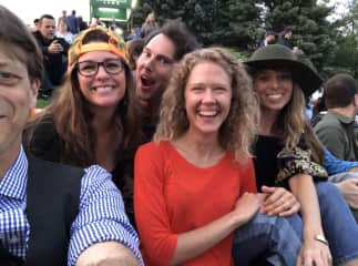 At a summer concert with friends.