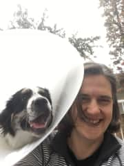 me and Oliver in his cone of sadness