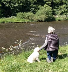 Ginny and Nellie on the banks of the River Tweed, Scotland