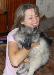Playing with my friend's dog Joujou