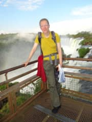 At Foz de Iguazu waterfalls in July'16, while tourleading a group of 20 people for 3 wks around Brazil
