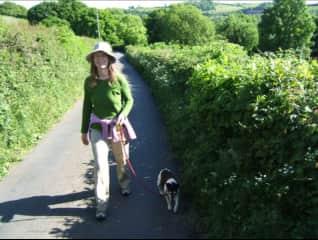 Jenny with Joey—dog-sitting in Devon