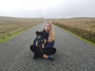 Teddy on a walk in Wales