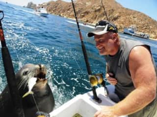 John and Pancho the Sea Lion in Cabo San Lucas