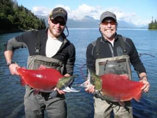 My son Curry and Jim, working on Salmon studies on Lake Iliamna, Alaska.