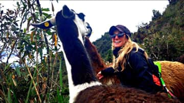 Me with a llama on the Inca Trail.