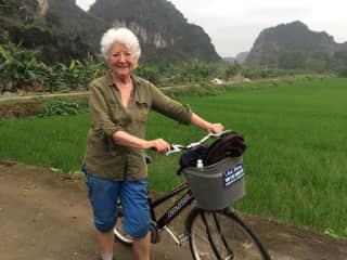 Cycling through Mai Chau in Vietnam.
