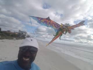 Kite flying on Bonita beach in Florida.
