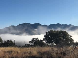 Mist on the Huachuca mountains as seen from the house.