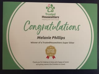 We've been awarded 'Supersitters' by the Trusted Housesitters Team!