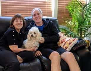 Us with Cookie....the best dog ever.